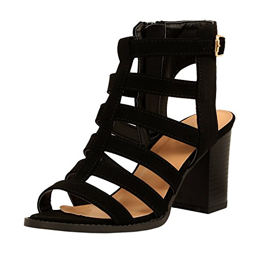 Guilty Shoes Womens Strappy Cut Out Gladiator - Open Toe Platform - Block Chunky Heeled Sandals (8 B(M) US, Blackv5 PU)