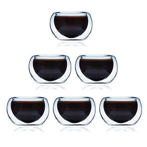 ELITEA Double Wall Glass Espresso Tea Cups Extra Thick Glasses Set of 6 (2 oz.fl)