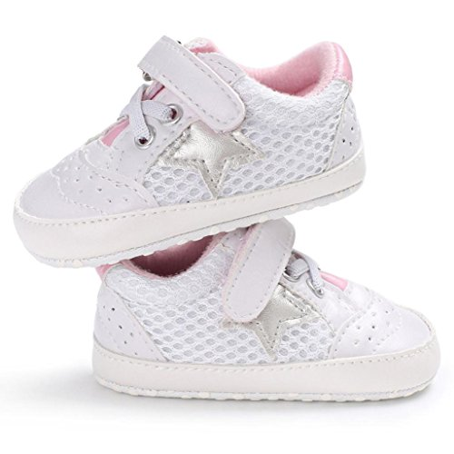 WeiYun Stars Baby Walkers Baby Shoes Sneakers Princess Soft Sole Shoes Toddler Casual Shoes (12Months, Pink) - Image 4