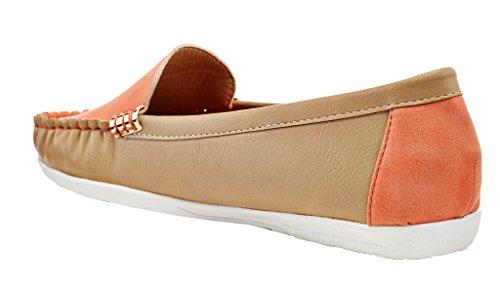 Lady Godiva Färg Avslappnad Slip-on Mockasiner Loafers Drivande Båt Platt Skor Apelsin