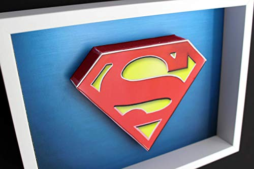 Superman logo. Man Of Steel. Kryptonite. Clark Kent. Christopher Reeve. Justice League. DC Comics Super Hero. Picture Framed 3D Art