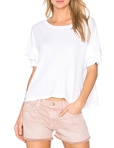 White Ruffle Sleeve (HaoDuoYi Womens Round Neck Casual Loose Short Ruffle Sleeve T Shirt(XXL,White))