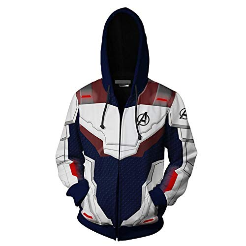 The Avengers' Ultimate Hoodie Quantum Kingdom Cosplay Costume 3D Printed Zip-up Jacket Pullover Sweatshirt (Blue, S) -