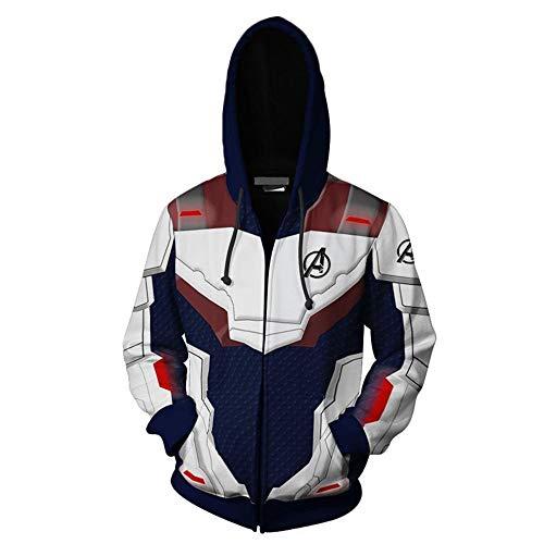 The Avengers' Ultimate Hoodie Quantum Kingdom Cosplay Costume 3D Printed Zip-up Jacket Pullover Sweatshirt (Blue, S) - Lightweight Pullover Jacket