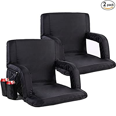 Sportneer Stadium Seats for Bleachers Portable Chair Seat with Backs and Cushion, Detachable Pocket and Shoulder Straps