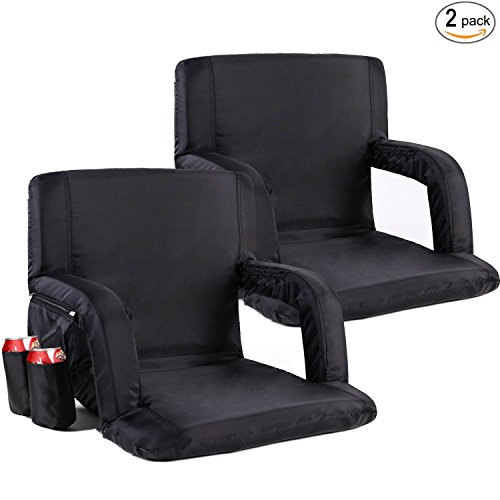 Bleacher Chair (Portable Stadium Seat Chair, Sportneer Reclining Seat for Bleachers with Padded Cushion Shoulder Straps, Black, 2 Pack)