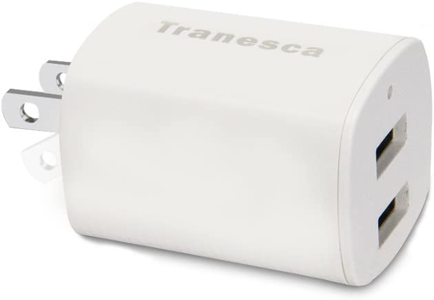 Tranesca Dual USB Port travel wall charger cube with foldable plug for iPhone X/8/7/6S/6S Plus/6 Plus/6, Samsung Galaxy S9/S8/S7/S6/S5 Edge, LG, HTC, Moto, Kindle and More-White