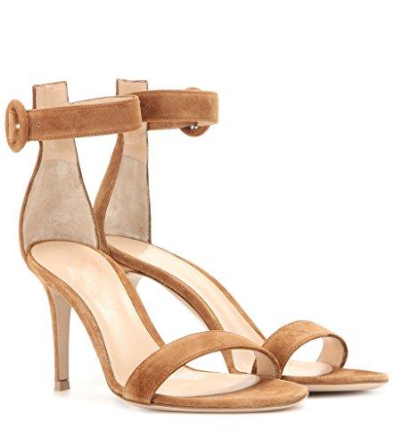 Chaussures de Talon Ouvert Bride EDEFS Cheville Sandales brown 8cm à Bout Stiletto Femme vtUYw5