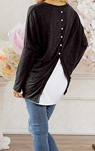 T Fashion Faux Hauts Shirts Sweat Col et Irregulier Pullover Manches Rond Longues Pulls Tee Tops Shirts Femmes Noir Automne Morceaux Blouse Deux Jumper Printemps qwvZOFw