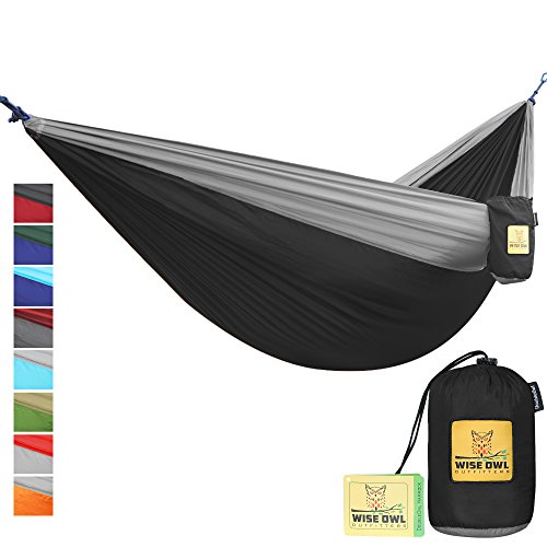 Wise Owl Outfitters Portable Lightweight Parachute Nylon Fabric Hammock with Ropes and Carbines, DoubleOwl, Black & Grey (Hammock Deluxe Explorer)