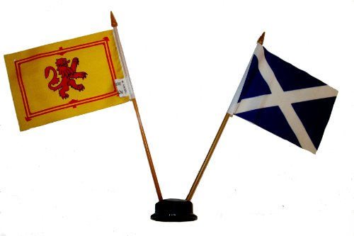 Scotland Lion & St. Andrews Small 4 X 6 Inch Mini Double Country Stick Flag Banner with BLACK STAND on a 10 Inch Plastic Pole .. New