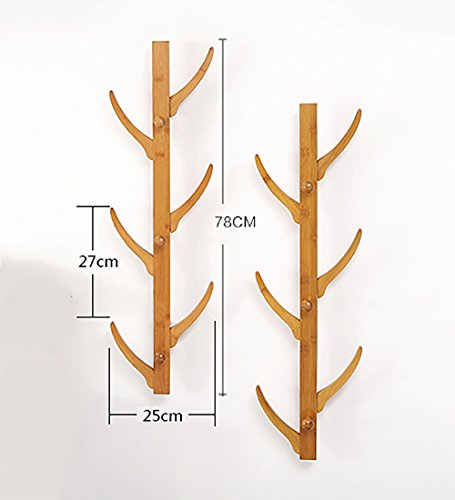 WUFENG Wall-mounted Coat Rack Bamboo Tree Twigs Type Diagonal Hanging Branches Bamboo Color Two Models Optional High 78cm (Color : 6 hooks -2 pieces)