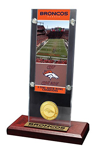 The Highland Mint NFL Denver Broncos 3 time Super Bowl Champions Ticket & Bronze Coin Acrylic Desktop, (Highland Bronze Coin Set)