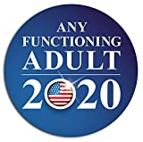 Any Functioning Adult 2020 Funny Bumper Sticker 4' Round Car Truck Vinyl Decal Political Presidential Election Made in USA (Round, 4 in)