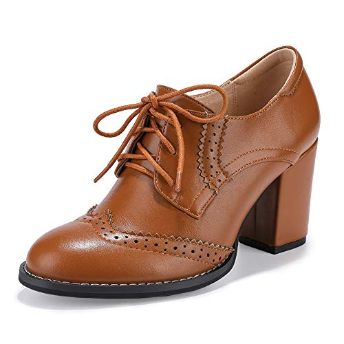 Shoes Pump Oxford Lace Up (IDIFU Women's Cassie Classic Round Toe Low Top High Block Heels Lace up Brogues Oxfords Pumps Shoes (Brown Pu, 7 M US))