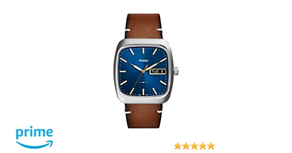 Amazon.com: Rutherford Three-Hand Day-Date Light Brown Leather Watch: Watches