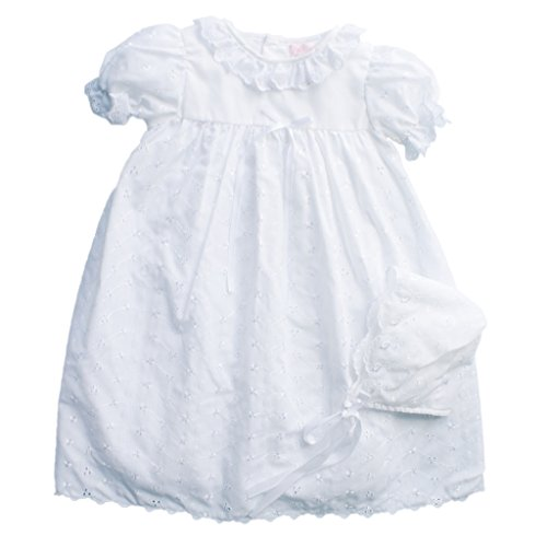 Eyelet Christening Baptism Gown with Ruffle at neck and Slip and Bonnet - 12 Month by Petit Ami
