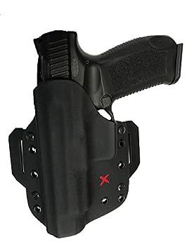 Canik TP9SF Elite X-PERT OWB Holster- BLACK- LEFT HAND, Gun