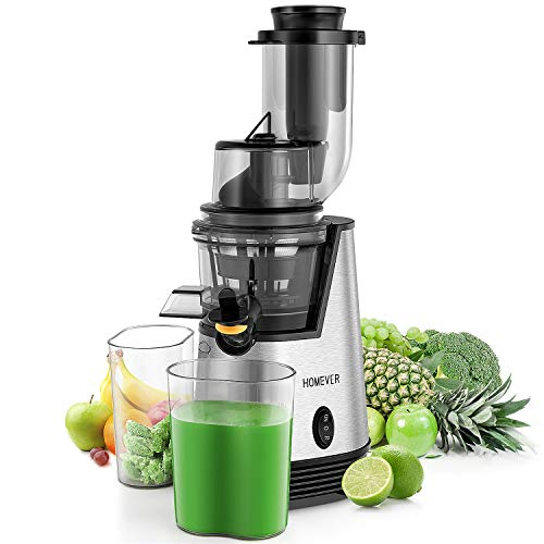 Juicer Machines, Homever Slow Masticating Juicer for Fruits and Vegetables, Quiet Motor, Reverse Function, Easy to Clean High Nutrient Cold Press Juicer Machine with Wide Big Feeding Chute, Stainless Steel Base
