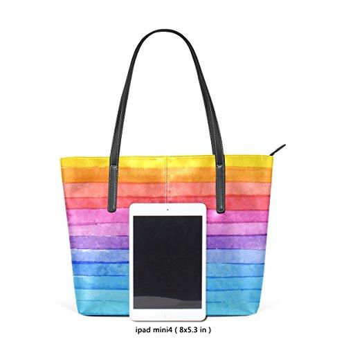 COOSUN Striped Hand Drawn Aquarell Rainbow Hintergrund PU Leder Schultertasche Geldbörse und Handtaschen Tasche für Frauen
