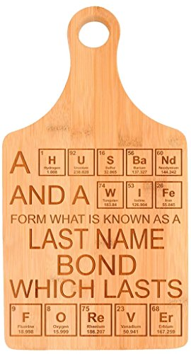 Custom Nerdy Couple's Gift Enter Last Name Personalized Paddle Shaped Bamboo Cutting Board Bamboo
