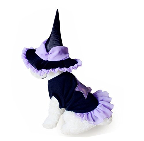 PetBoBo Pet Dog Cat Clothes with Witch Hat Halloween Coats Clothing Costume for Puppy Chihuahua Cat (L)