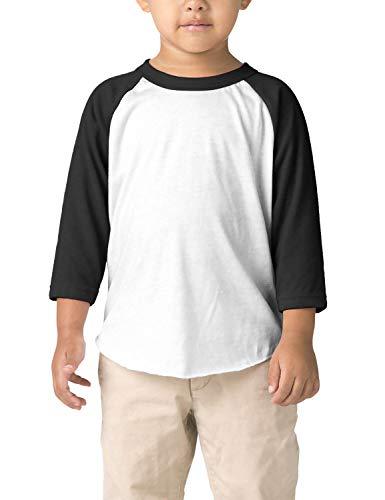 Hat and Beyond Infant Raglan 3/4 Sleeves Baseball Tee (18M, (Baby) 5bh03_White/Black)