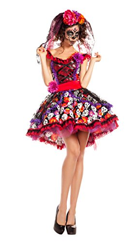 Party King Women's Lady of The Dead Costume, red/Multi, Medium