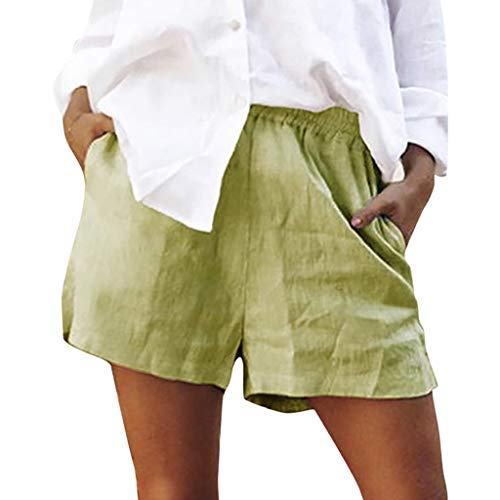 JOFOW Shorts for Women Casual Linen Loose A Line Solid Mini Pants Elastic High Waist Beach Holiday Trousers Summer (M,Green)
