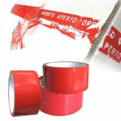 StickersLab - Nastro adesivo anti manomissione colore rosso 50mm x 50 MT antimanomissione