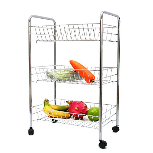 3 Tier Rolling Cart,Multifunction Chrome Storager for Kitchen Dining Room Bathroom with 3 Removable Basket by