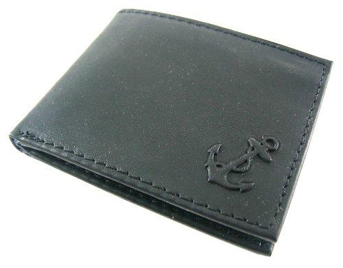 Nautica Mens Genuine Leather - Nautica Men's Genuine Leather Bifold Passcase Wallet Black