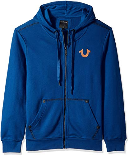 True Religion Men's Buddha Zip Hoodie, Cobalt Blue, M (Mens Buddha Sweatshirt)