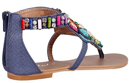 EOZY Sandalia Plana de Dedo Bohemia Flip Flop para Mujer Playa Azul