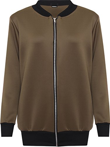 Top up 28 14 Funky Fashion Shop Zip Brown Bomber Elasticated Plain Plus Ladies Size Jacket Long Sleeve 0FPFwf