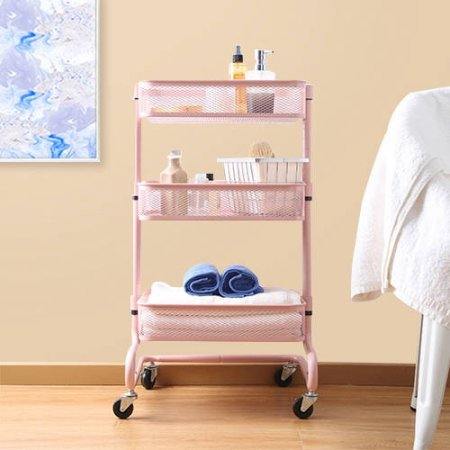 Kd Utility Cart (Mainstays Fully Adjustable Utility Cart, Pearl Blush Finish)
