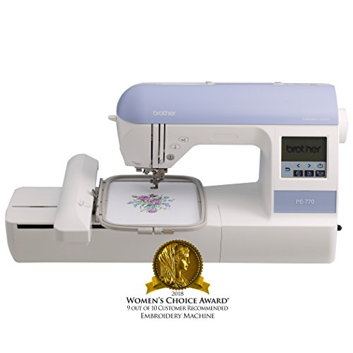 Brother Embroidery Machine, PE770, 5' x 7' Embroidery Machine with Built-in Memory, USB Port, 6 Lettering Fonts, 136 Built-in Designs