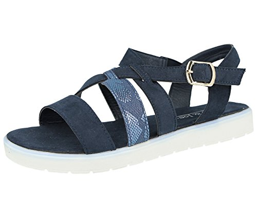 Joe Print Faux Strappy Suede Buckle 3 Ladies Jo Sandals Summer Snake Back amp; Sling 8 Navy Toe Size Open wYqftB