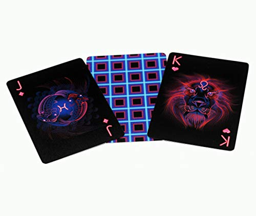 Custom Playing Cards Unique Card Deck - Cool Black Poker Cards - Really Great Neon Zodiac Playing Cards]()