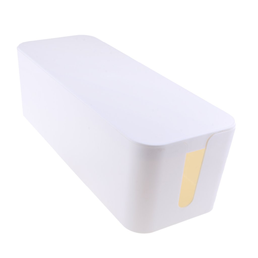 Homyl Dustproof Cable Wire Harness Storage Box Management Desktop Organizer for Home Office - white