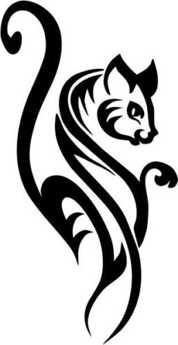 Tribal Cat Feline House Pet Vinyl Graphic Car Truck Windows Decor Decal Sticker - Die cut vinyl decal for windows, cars, trucks, tool boxes, laptops, MacBook - virtually any hard, smooth surface ()