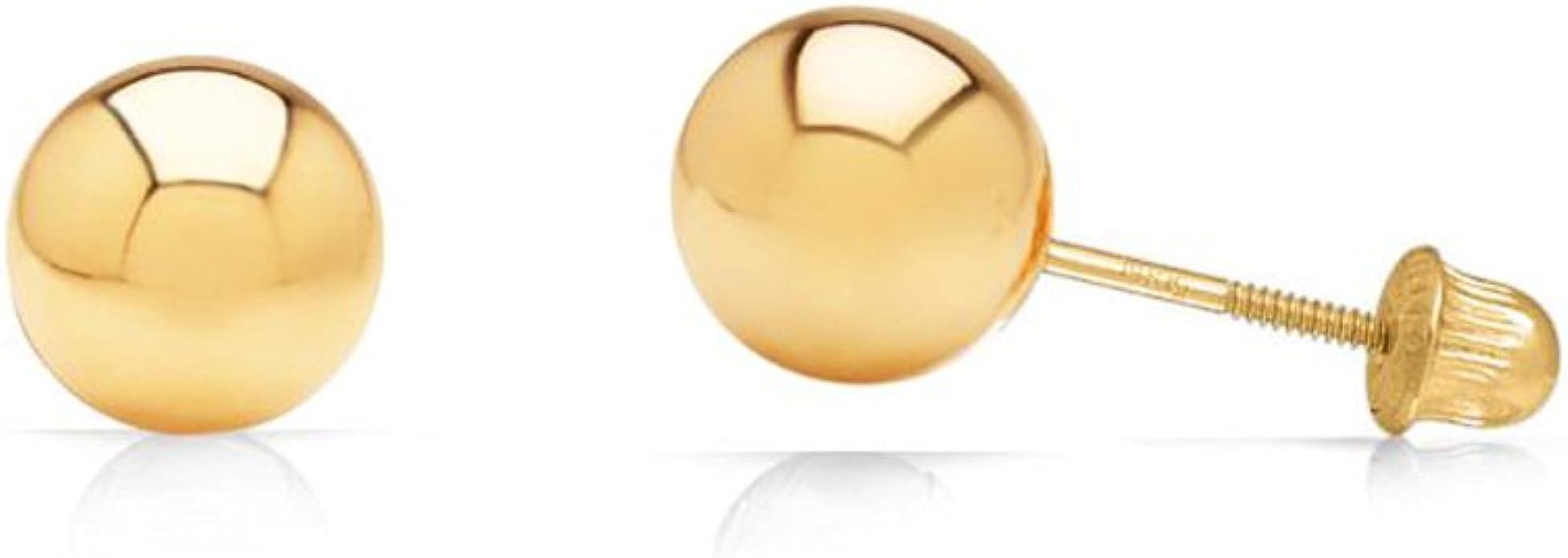 14k Solid Yellow Gold 10mm Black Onyx Bead Stud Earrings TPJ