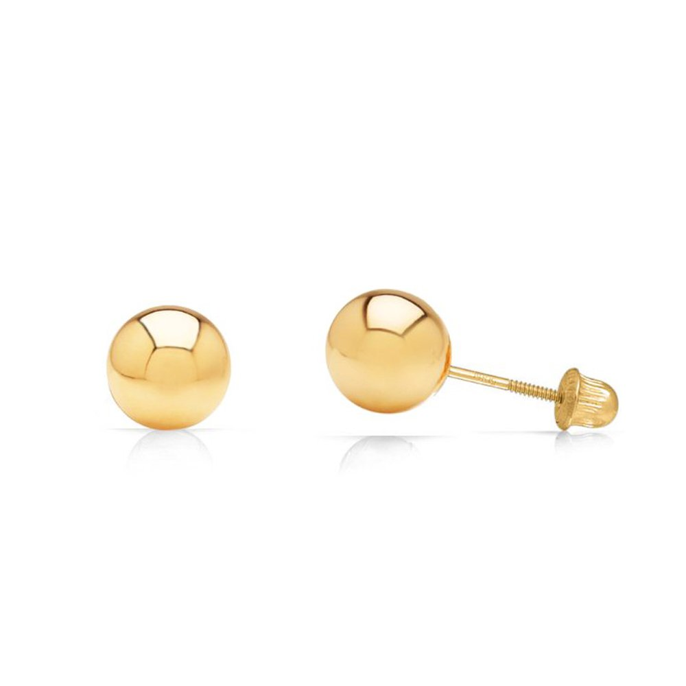 14k Yellow Gold Ball Stud Earrings with Secure and Comfortable Screw Backs (5mm)