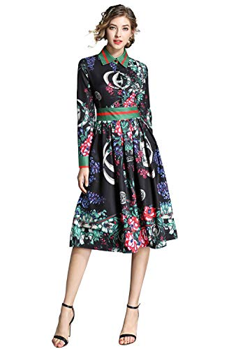 LAI MENG FIVE CATS Women's 3/4 Sleeve Floral Print Button up Casual A-line Party Swing Midi ()