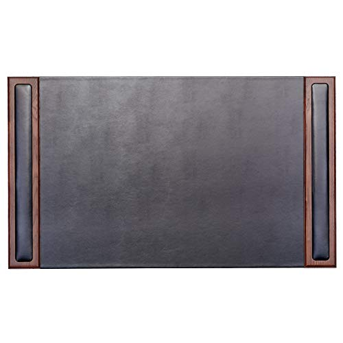 Dacasso Walnut and Leather Desk Pad with Side-Rails,34 by 20 ()