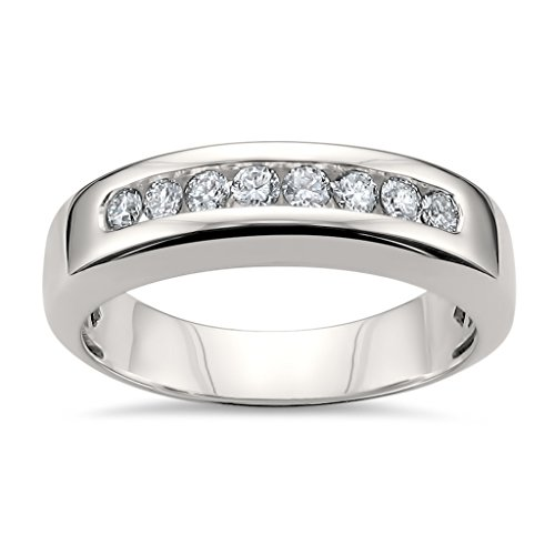 14k White Gold 8-Stone Round Diamond Men's Comfort Fit Wedding Band Ring (1/2 cttw, H-I, SI2-I1), Size 12 ()