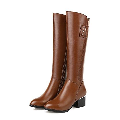 CXQ-Boots qin&X Women's Round Toe Block Heel Heels Warm Long Boots Shoes Big size Brown 6QHk6QrUC