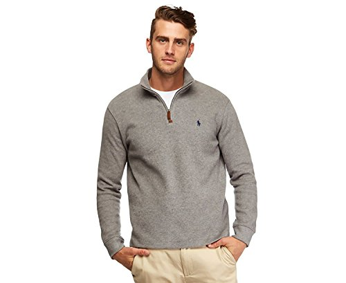 RALPH LAUREN Polo Men's Half Zip French Rib Cotton Sweater (X-Large, Light Grey) by RALPH LAUREN