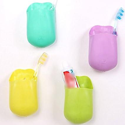 VANKER 1 x Color al azar pared succión baño cepillo de dientes con ventosa organizador bolsillo