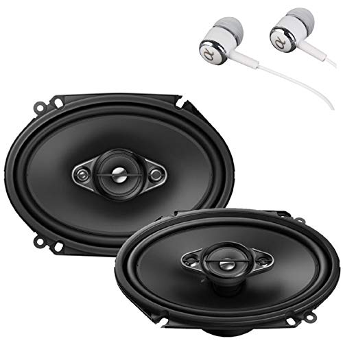 "Pioneer TS-A6880F 6"" x 8"" 350 Watts Max Power A-Series 4-Way Car Audio Coaxial Speakers Pair with Fiber Cone Midrange/Free ALPHASONIK Earbuds"
